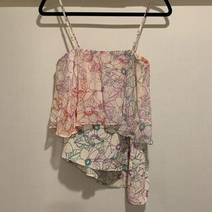 Anthropologie Tops - Anthropologie Romantic Floral Silk Top by Maeve